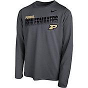 Nike Youth Purdue Boilermakers Grey Legend Football Sideline Long Sleeve T-Shirt