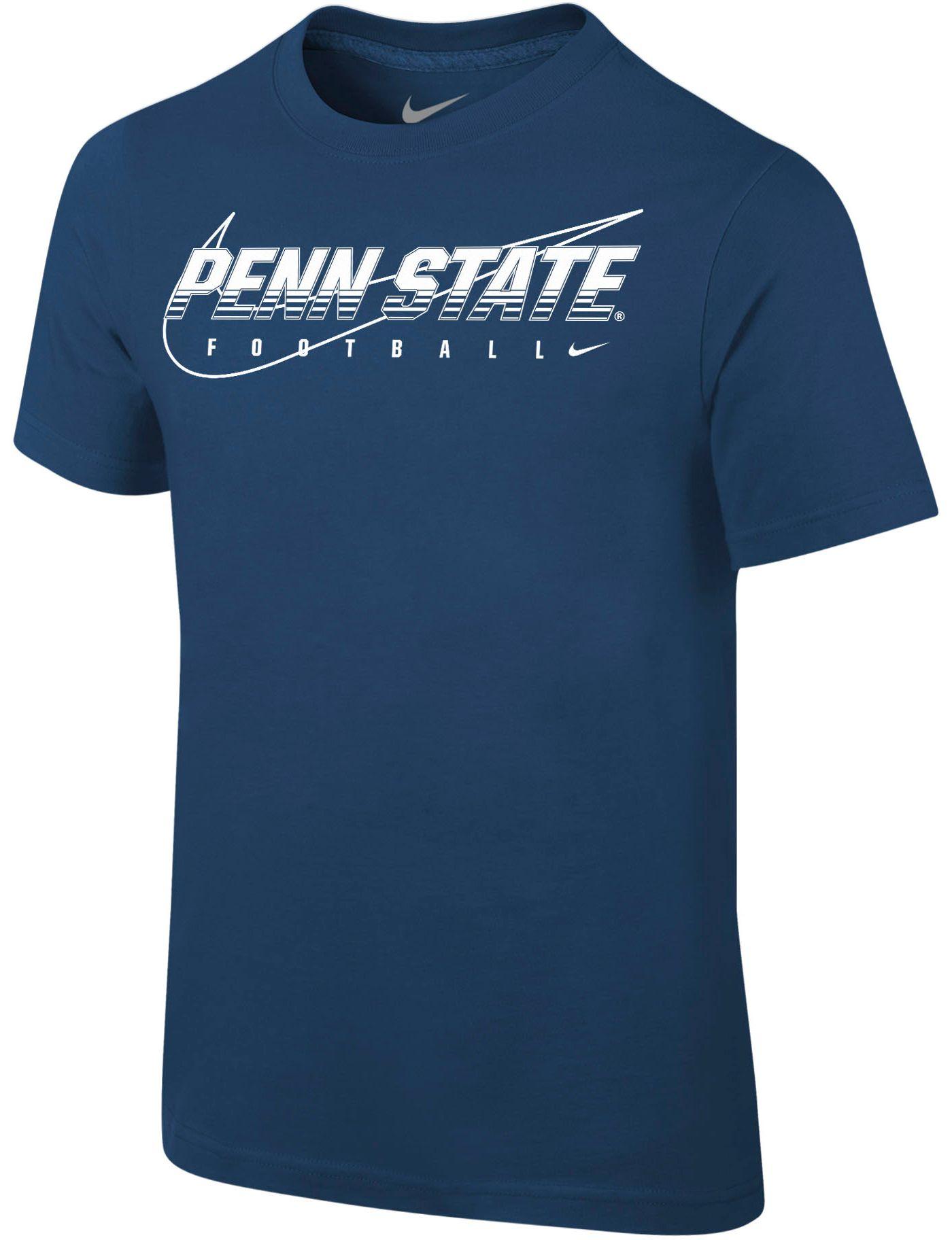 Nike Youth Penn State Nittany Lions Blue Football Dri-FIT Cotton Preschool Facility T-Shirt