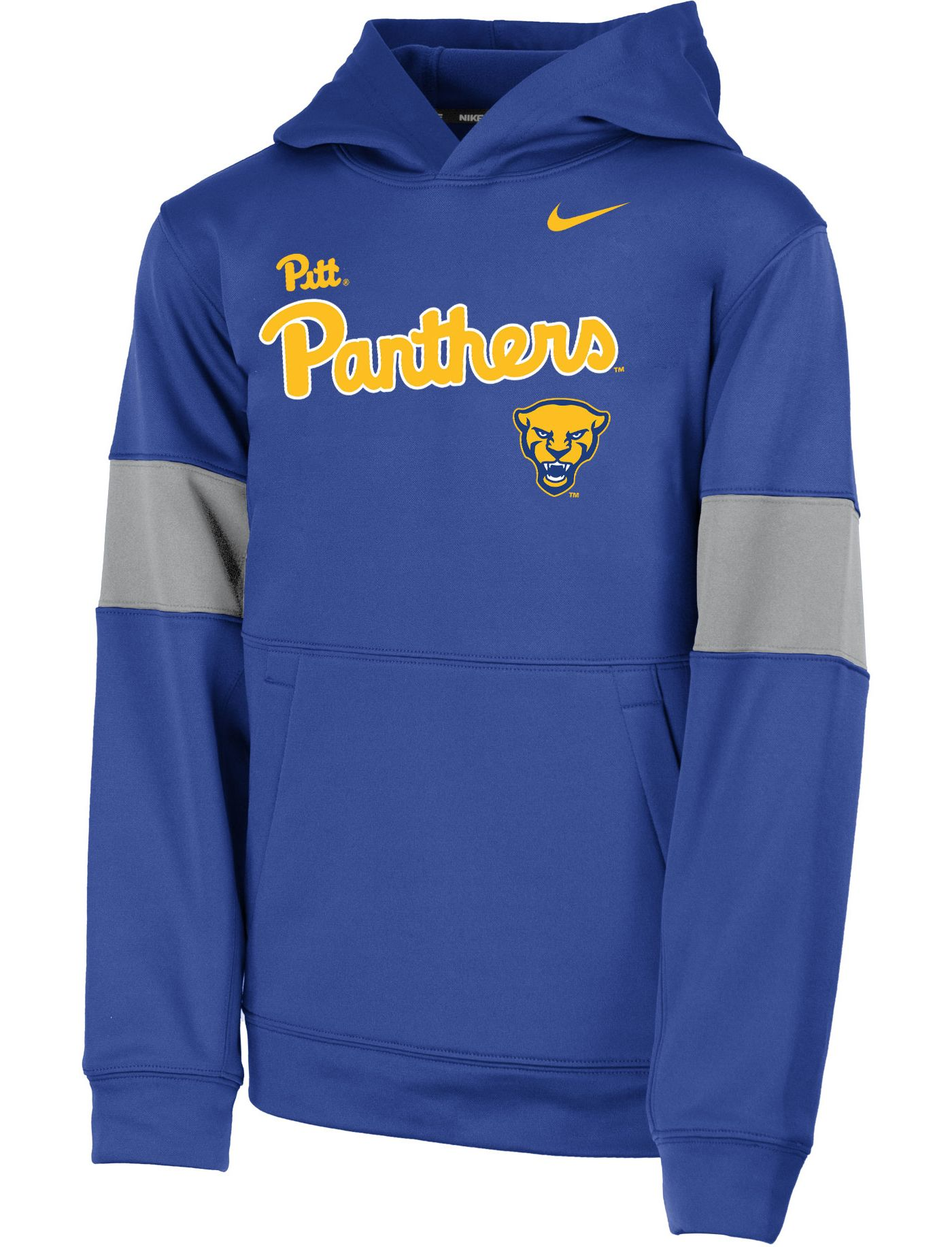 Nike Youth Pitt Panthers Blue Therma Football Sideline Pullover Hoodie
