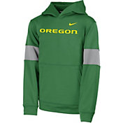 Nike Youth Oregon Ducks Green Therma Football Sideline Pullover Hoodie