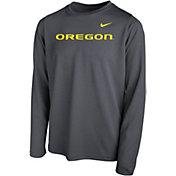 Nike Youth Oregon Ducks Grey Legend Football Sideline Long Sleeve T-Shirt