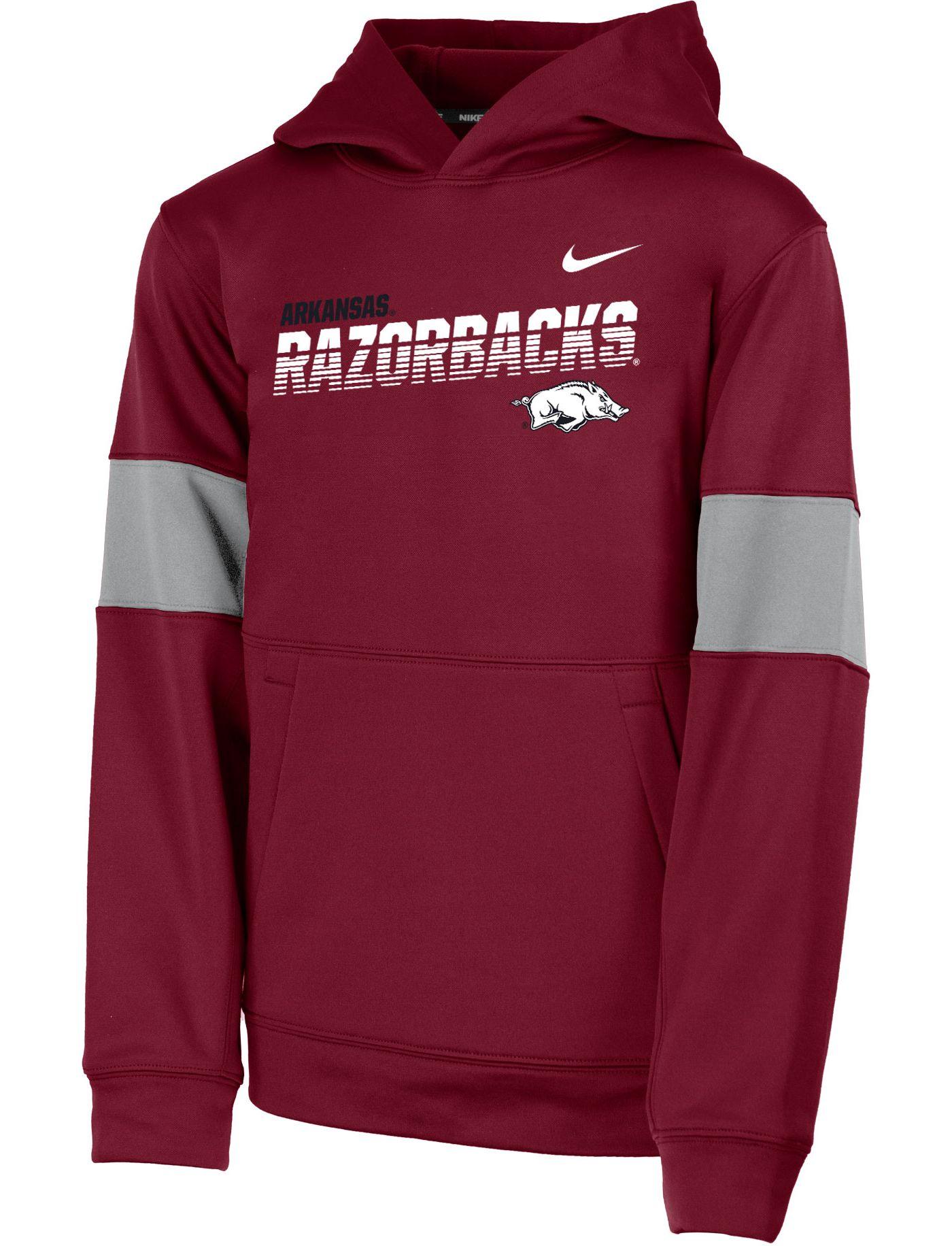 Nike Youth Arkansas Razorbacks Cardinal Therma Football Sideline Pullover Hoodie