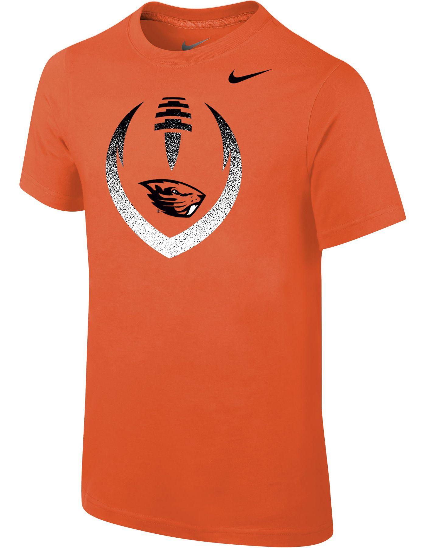 Nike Youth Oregon State Beavers Orange Cotton Football Icon T-Shirt