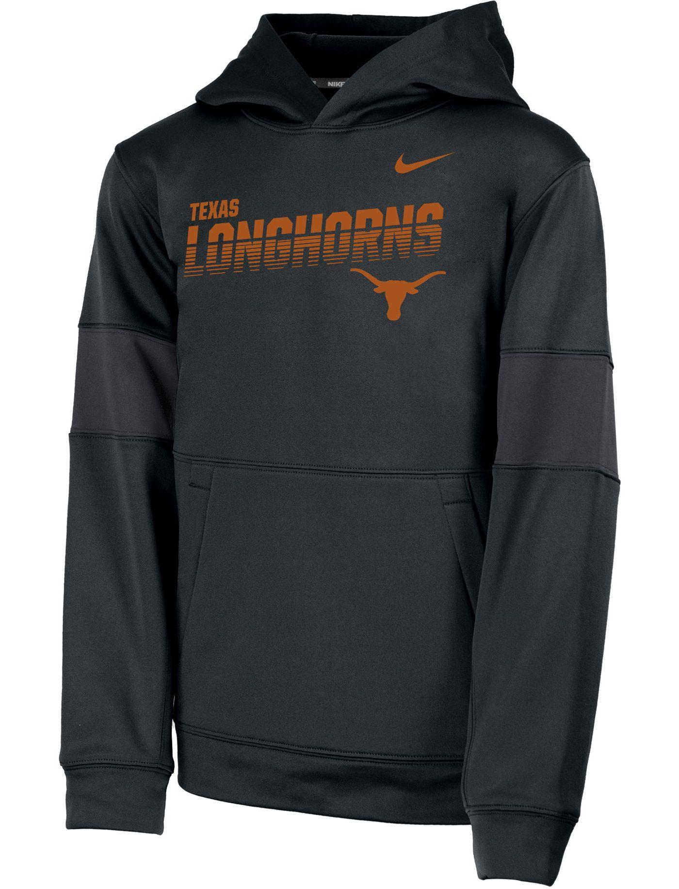 Nike Youth Texas Longhorns Therma Football Sideline Pullover Black Hoodie