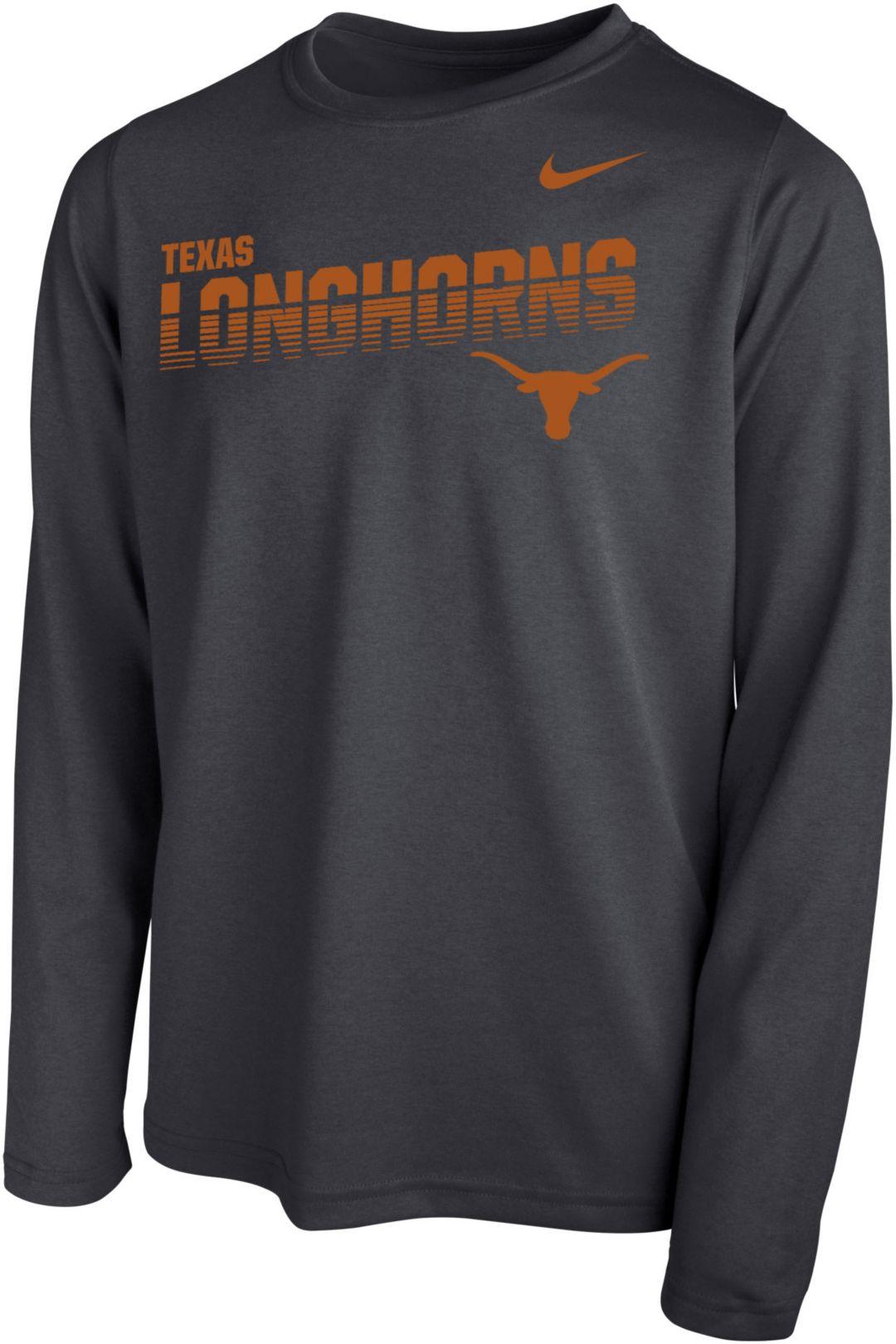 5adee703 Nike Youth Texas Longhorns Grey Legend Football Sideline Long Sleeve T-Shirt