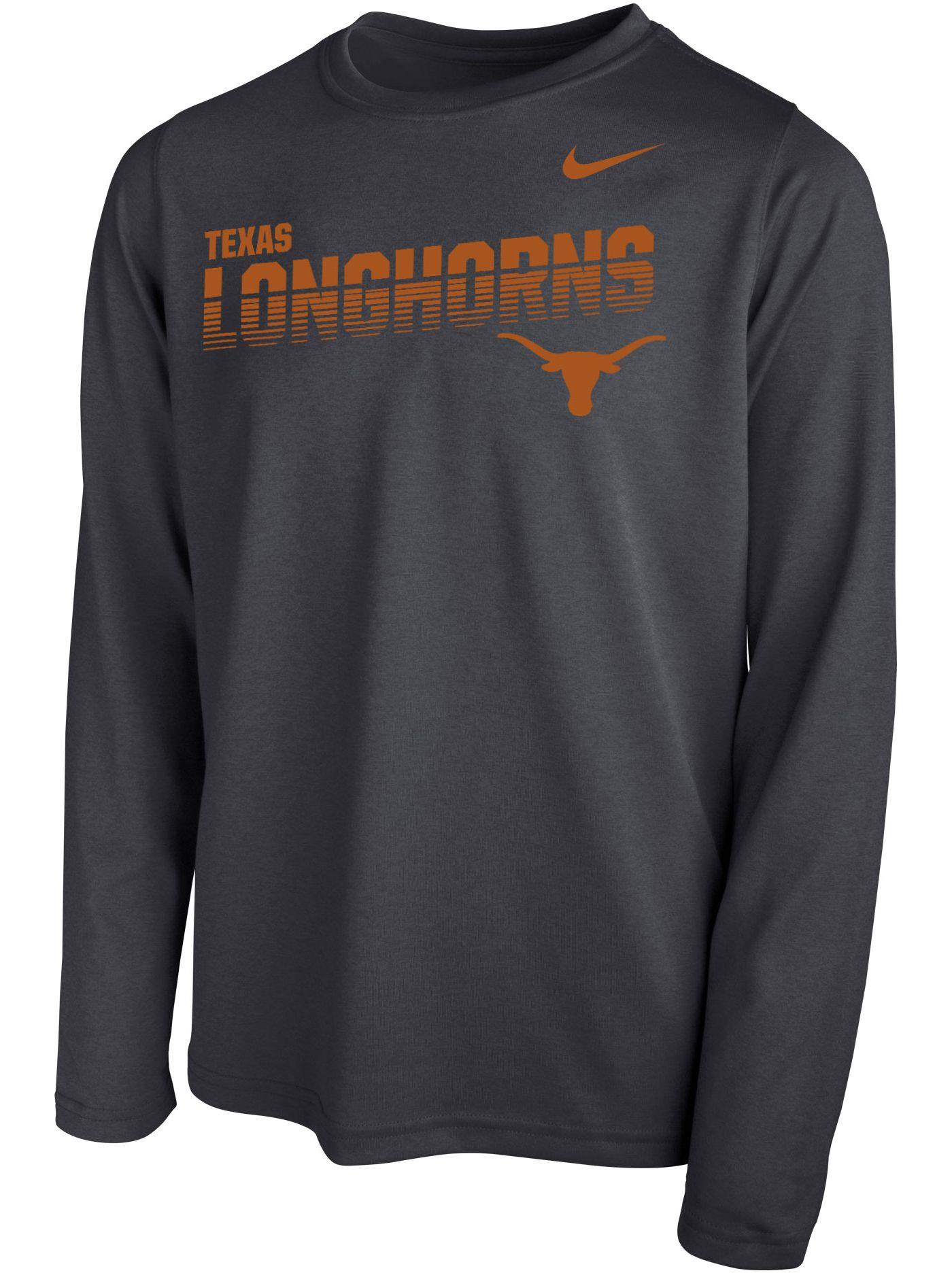Nike Youth Texas Longhorns Grey Legend Football Sideline Long Sleeve T-Shirt