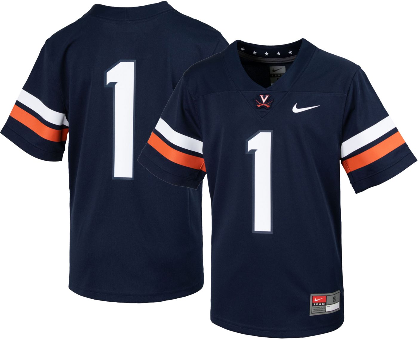 Nike Youth Virginia Cavaliers #1 Blue Replica Football Jersey