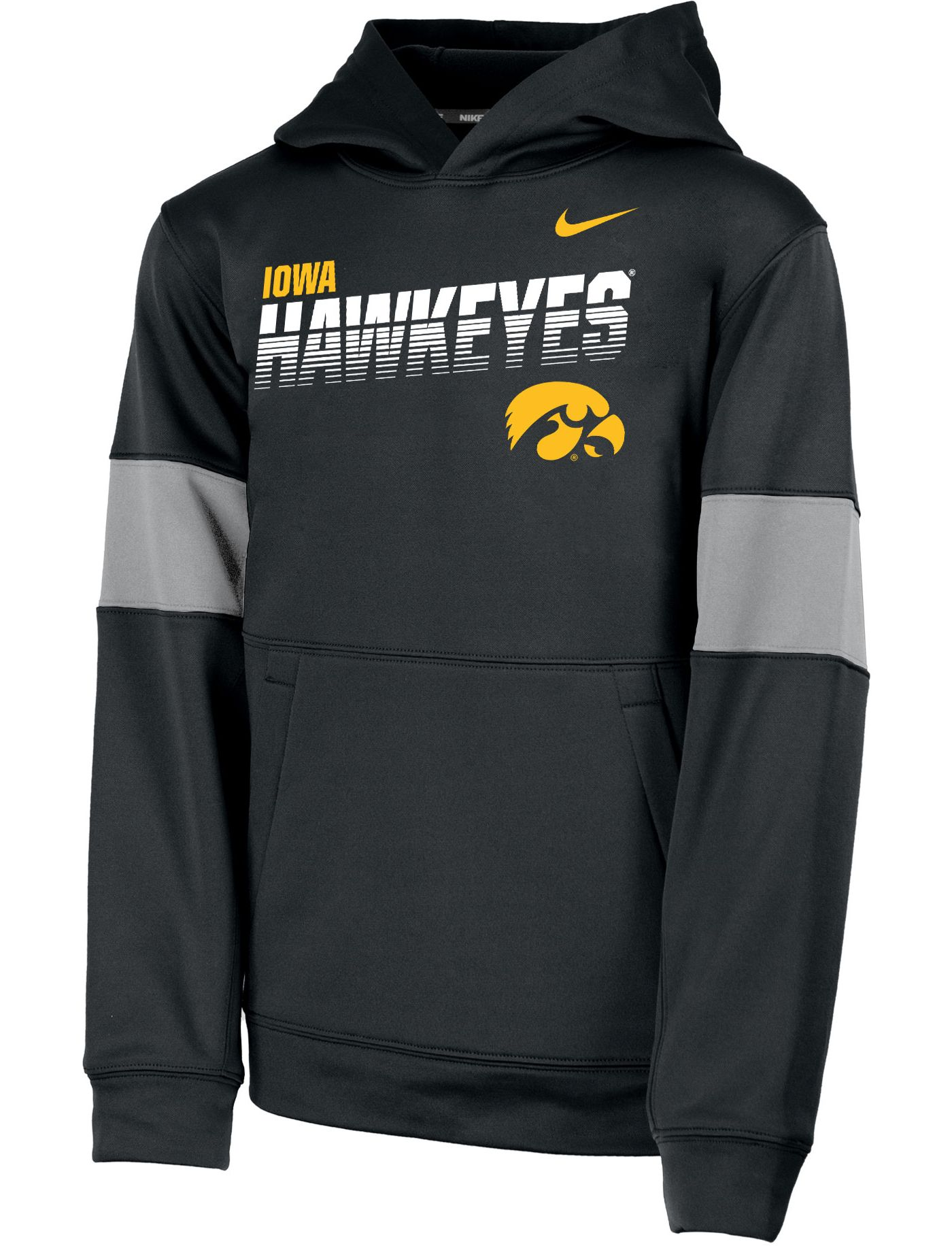 Nike Youth Iowa Hawkeyes Therma Football Sideline Pullover Black Hoodie