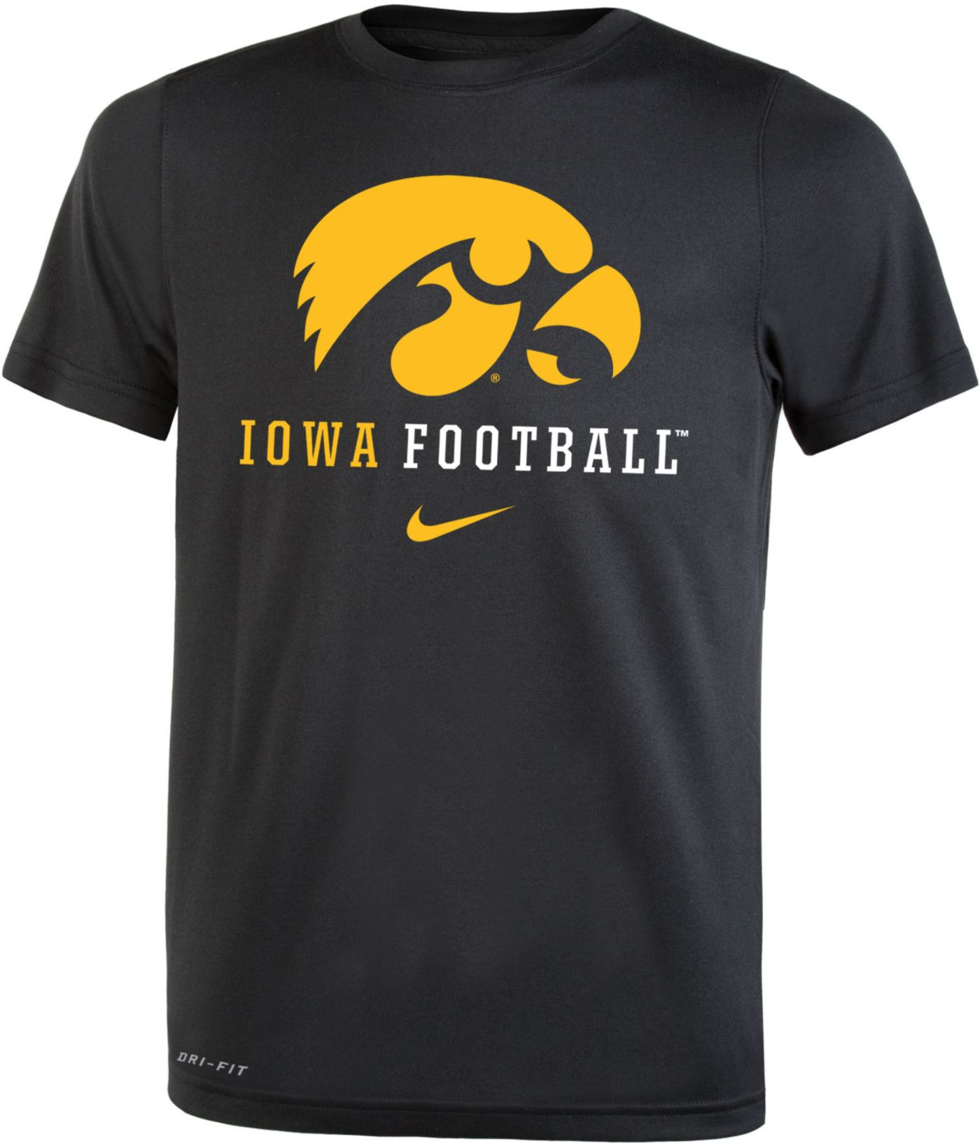 Nike Youth Iowa Hawkeyes Football Icon Wordmark Black T-Shirt