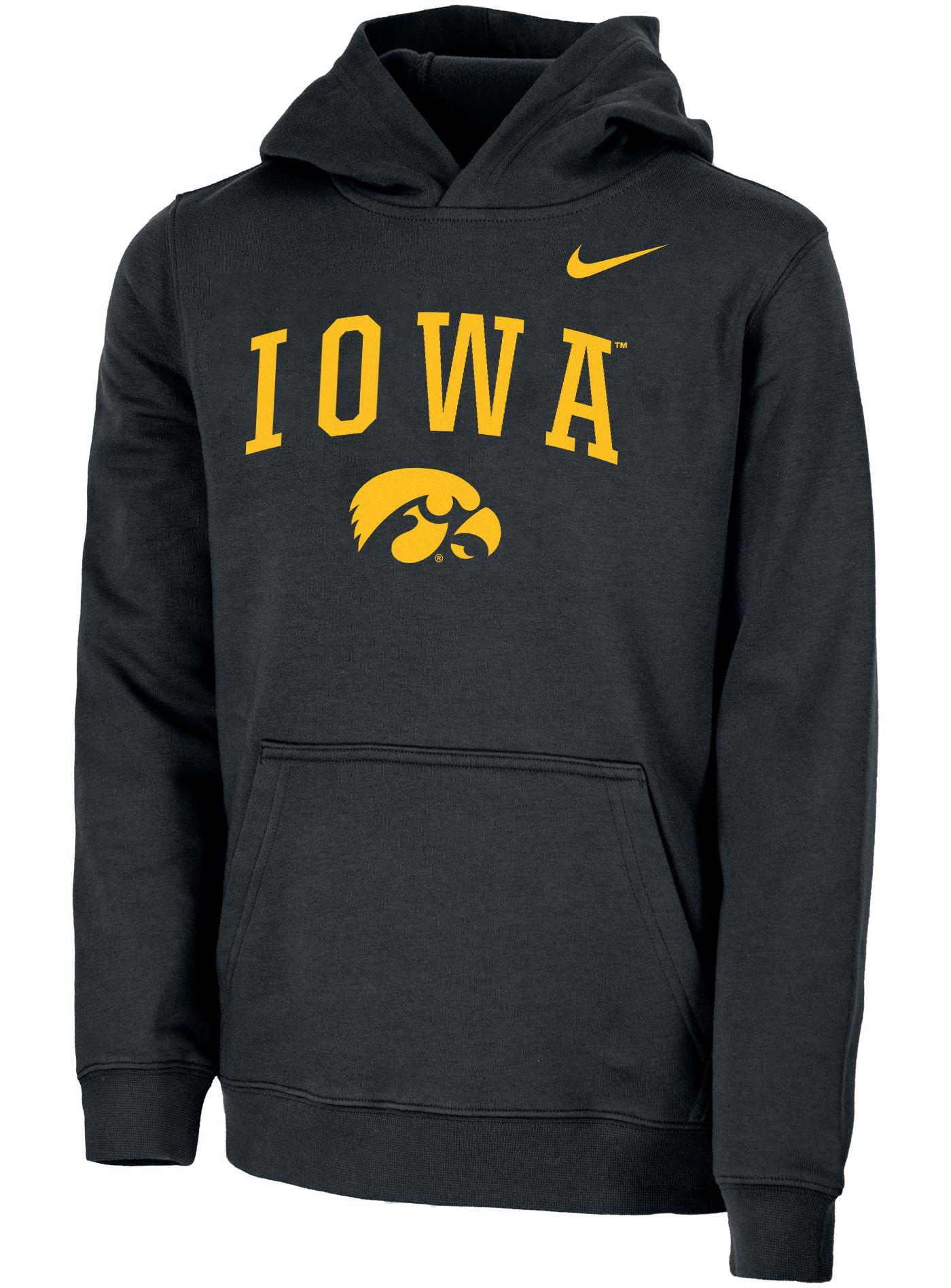 Nike Youth Iowa Hawkeyes Club Fleece Pullover Black Hoodie