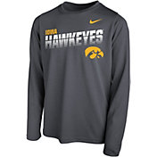Nike Youth Iowa Hawkeyes Grey Legend Football Sideline Long Sleeve T-Shirt
