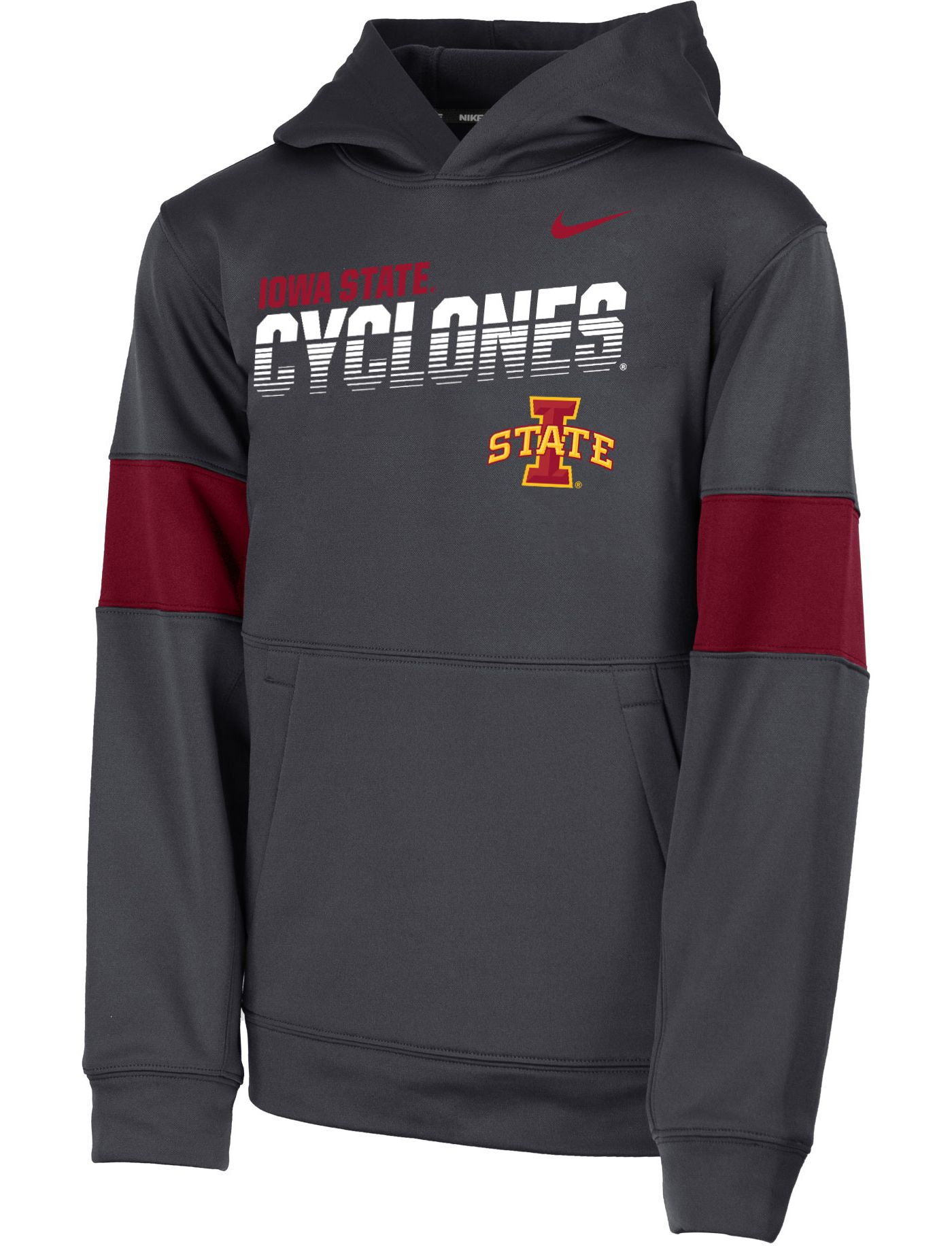 Nike Youth Iowa State Cyclones Grey Therma Football Sideline Pullover Hoodie