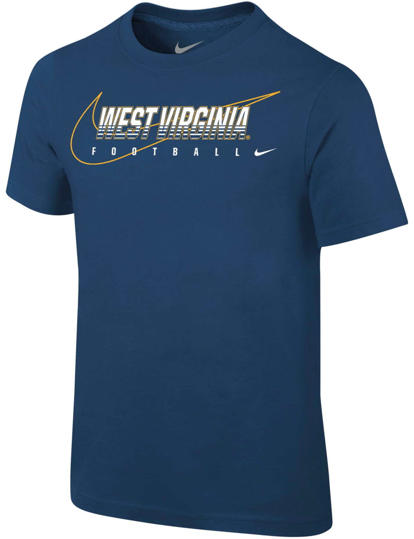 Nike Youth West Virginia Mountaineers Blue Football Dri-FIT Cotton Preschool Facility T-Shirt