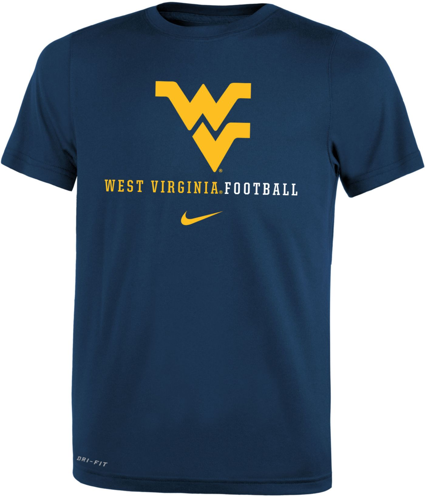 Nike Youth West Virginia Mountaineers Blue Football Icon Wordmark T-Shirt