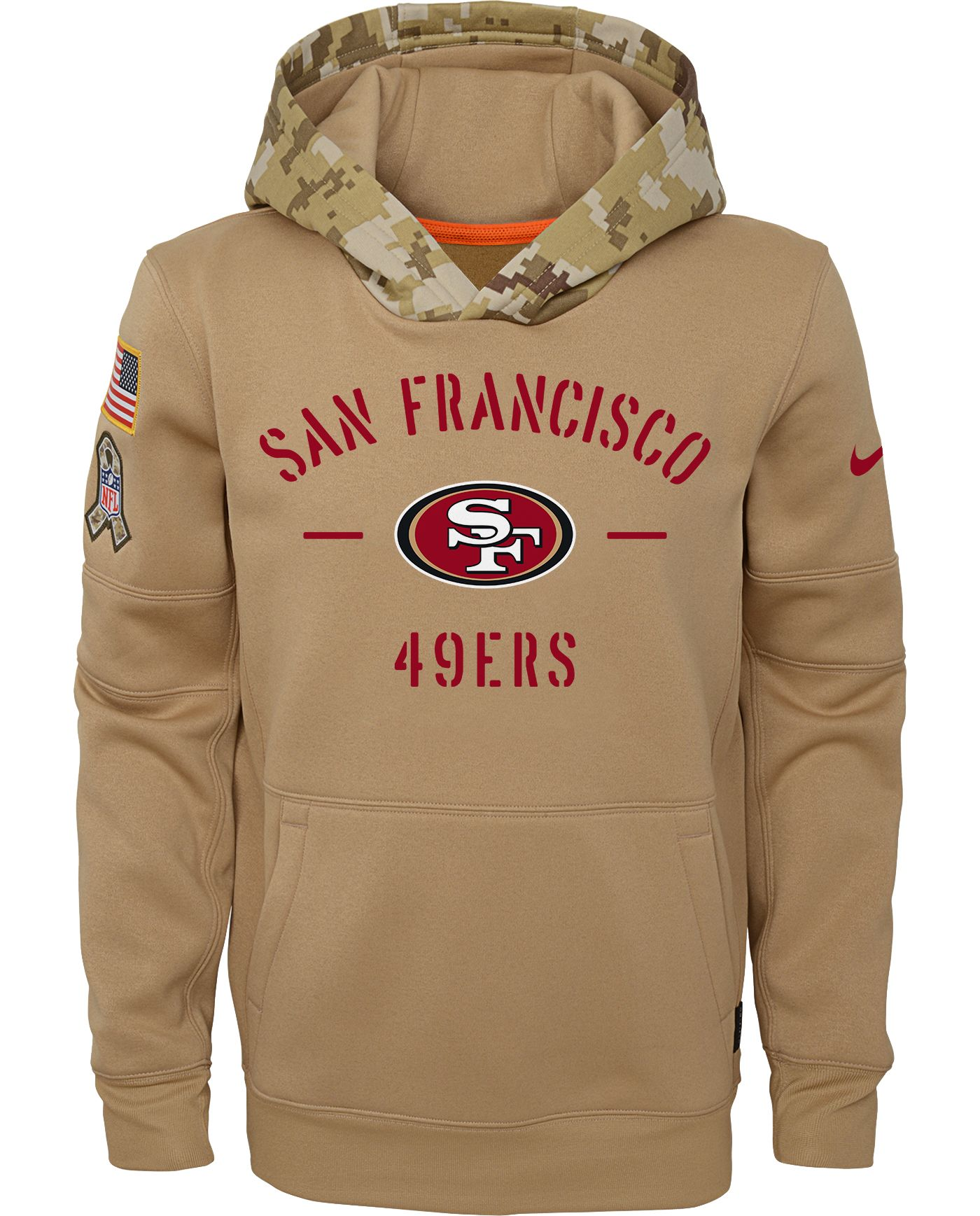 Nike Youth Salute to Service San Francisco 49ers Therma-FIT Beige Camo Hoodie