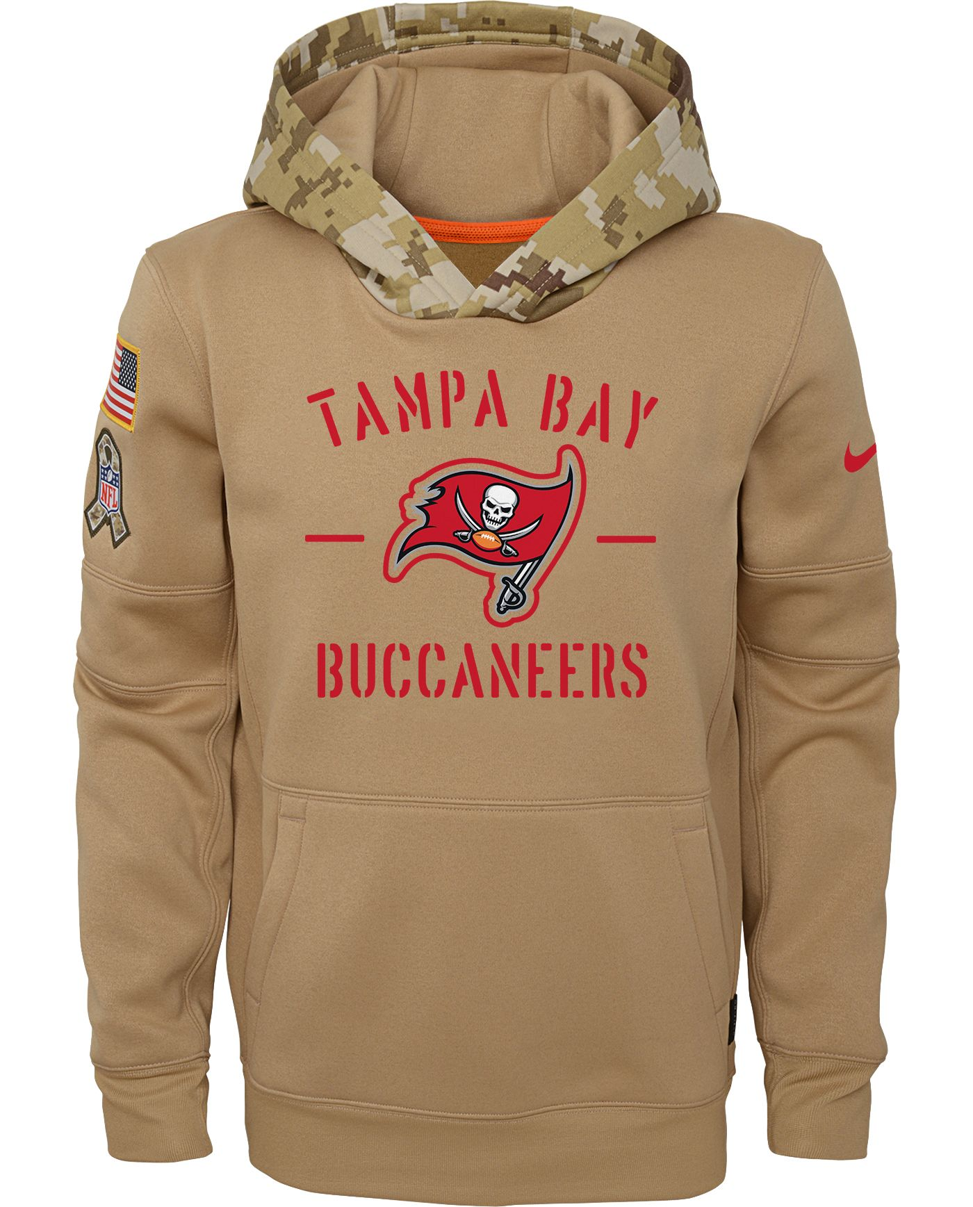 Nike Youth Salute to Service Tampa Bay Buccaneers Therma-FIT Beige Camo Hoodie