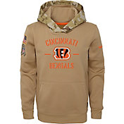 Nike Youth Salute to Service Cincinnati Bengals Therma-FIT Beige Camo Hoodie