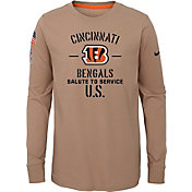 Nike Youth Salute to Service Cincinnati Bengals Dri-FIT Beige Long Sleeve Shirt