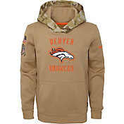 Nike Youth Salute to Service Denver Broncos Therma-FIT Beige Camo Hoodie