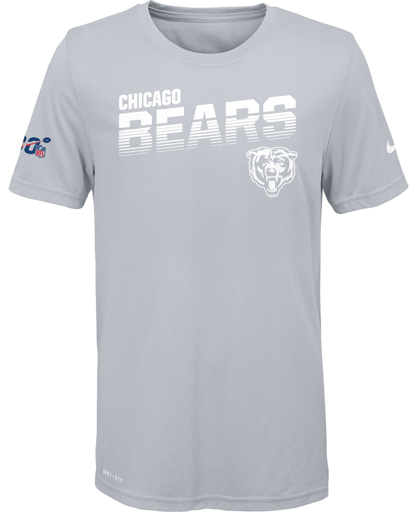 Nike Youth Chicago Bears 100th Sideline Legend Performance White T-Shirt