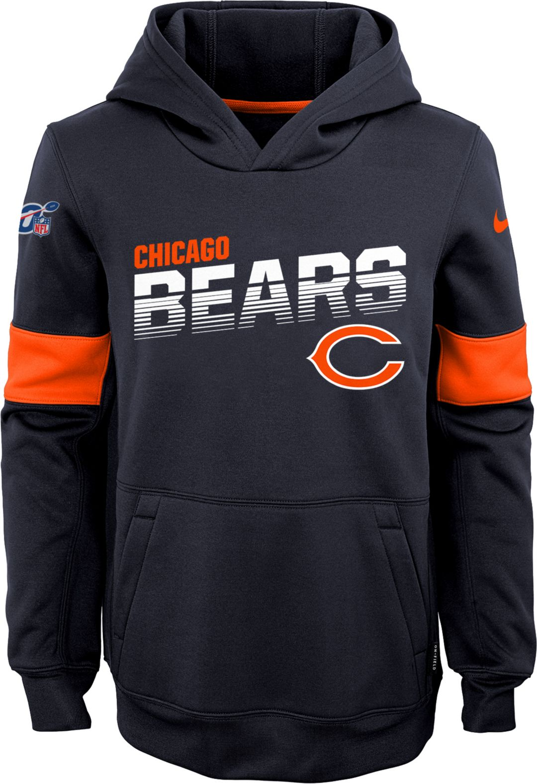 quality products shop best sellers best wholesaler Nike Youth Chicago Bears 100th Sideline Therma-FIT Navy Pullover Hoodie