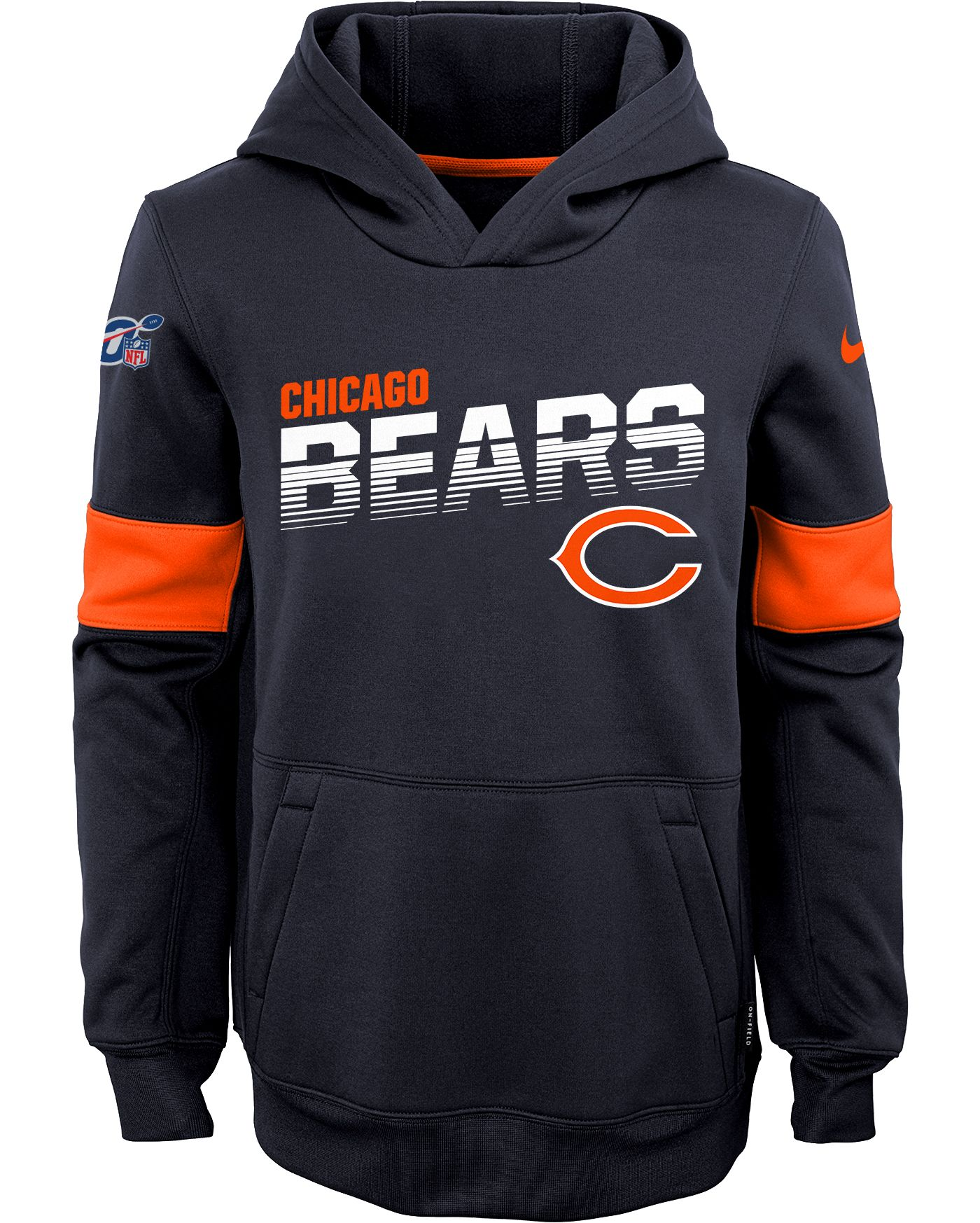 Nike Youth Chicago Bears 100th Sideline Therma-FIT Navy Pullover Hoodie