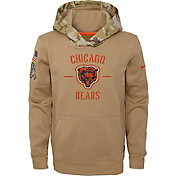 Nike Youth Salute to Service Chicago Bears Therma-FIT Beige Camo Hoodie