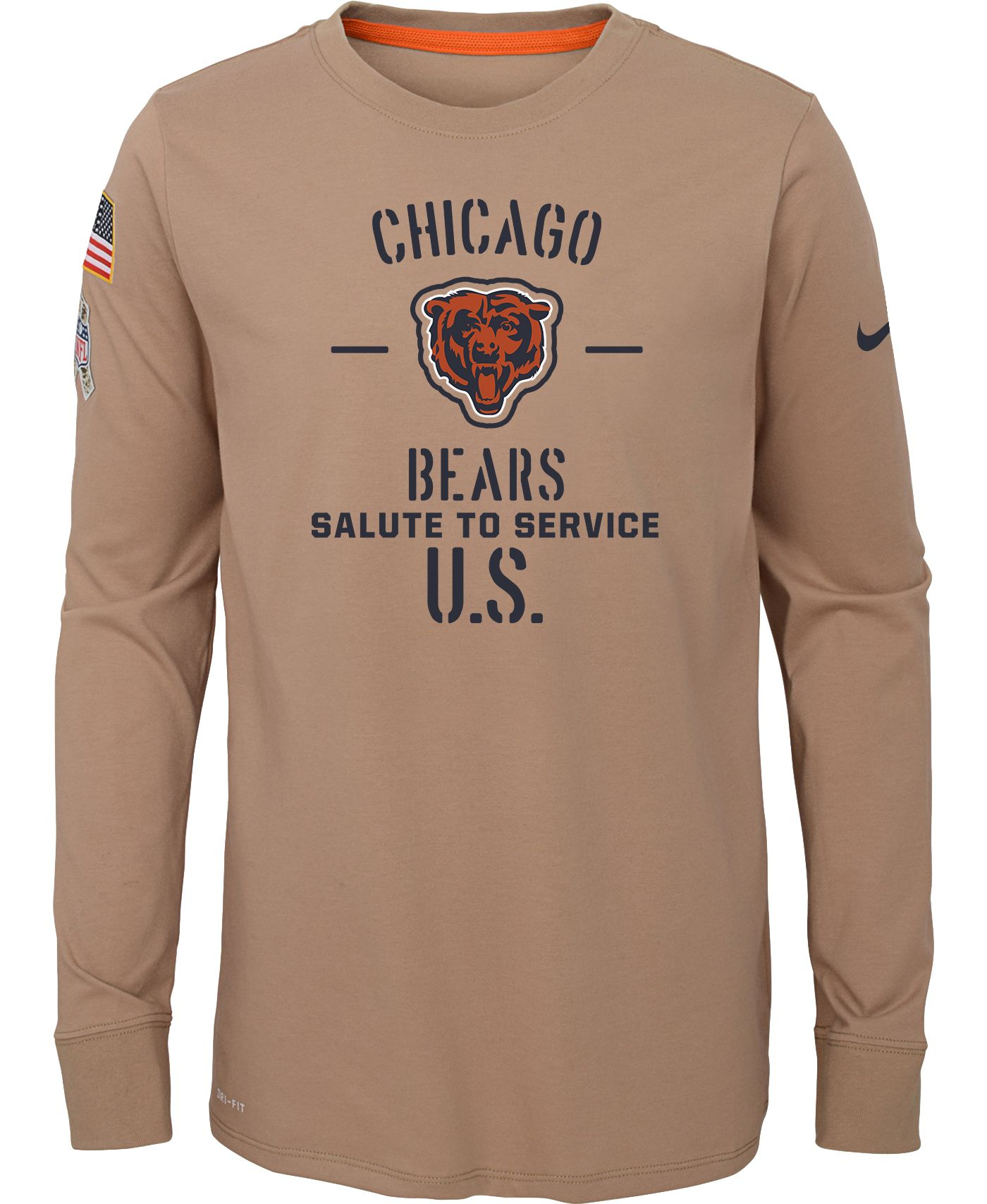 Nike Youth Salute to Service Chicago Bears Dri-FIT Beige Long Sleeve Shirt