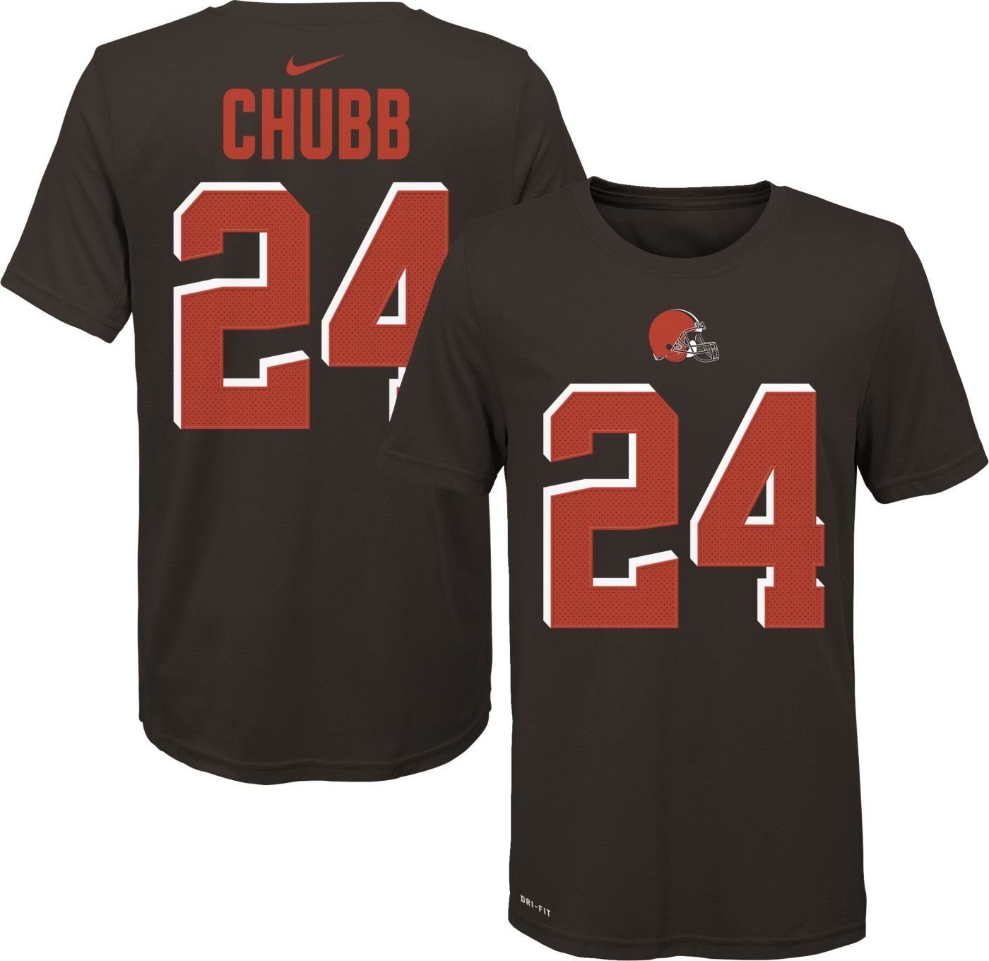 Nike Youth Cleveland Browns Nick Chubb #24 Logo Brown T-Shirt
