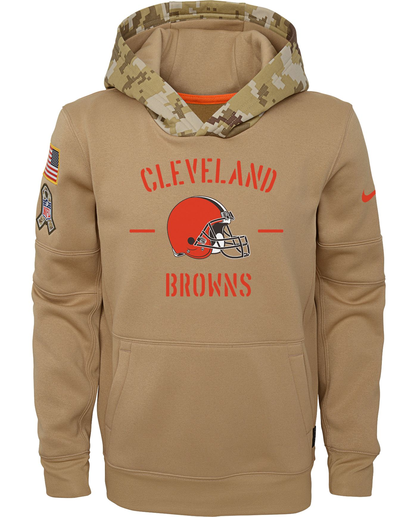 Nike Youth Salute to Service Cleveland Browns Therma-FIT Beige Camo Hoodie