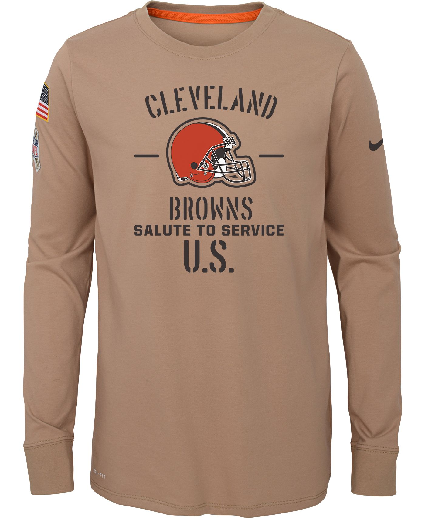 Nike Youth Salute to Service Cleveland Browns Dri-FIT Beige Long Sleeve Shirt