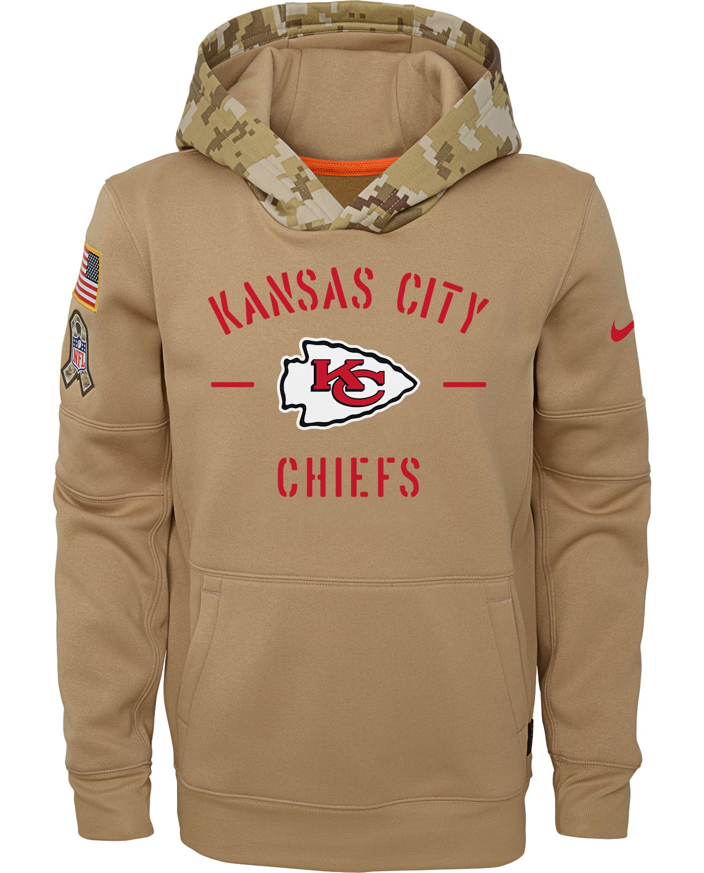 Nike Youth Salute to Service Kansas City Chiefs Therma-FIT Beige Camo Hoodie