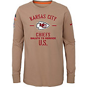 Nike Youth Salute to Service Kansas City Chiefs Dri-FIT Beige Long Sleeve Shirt
