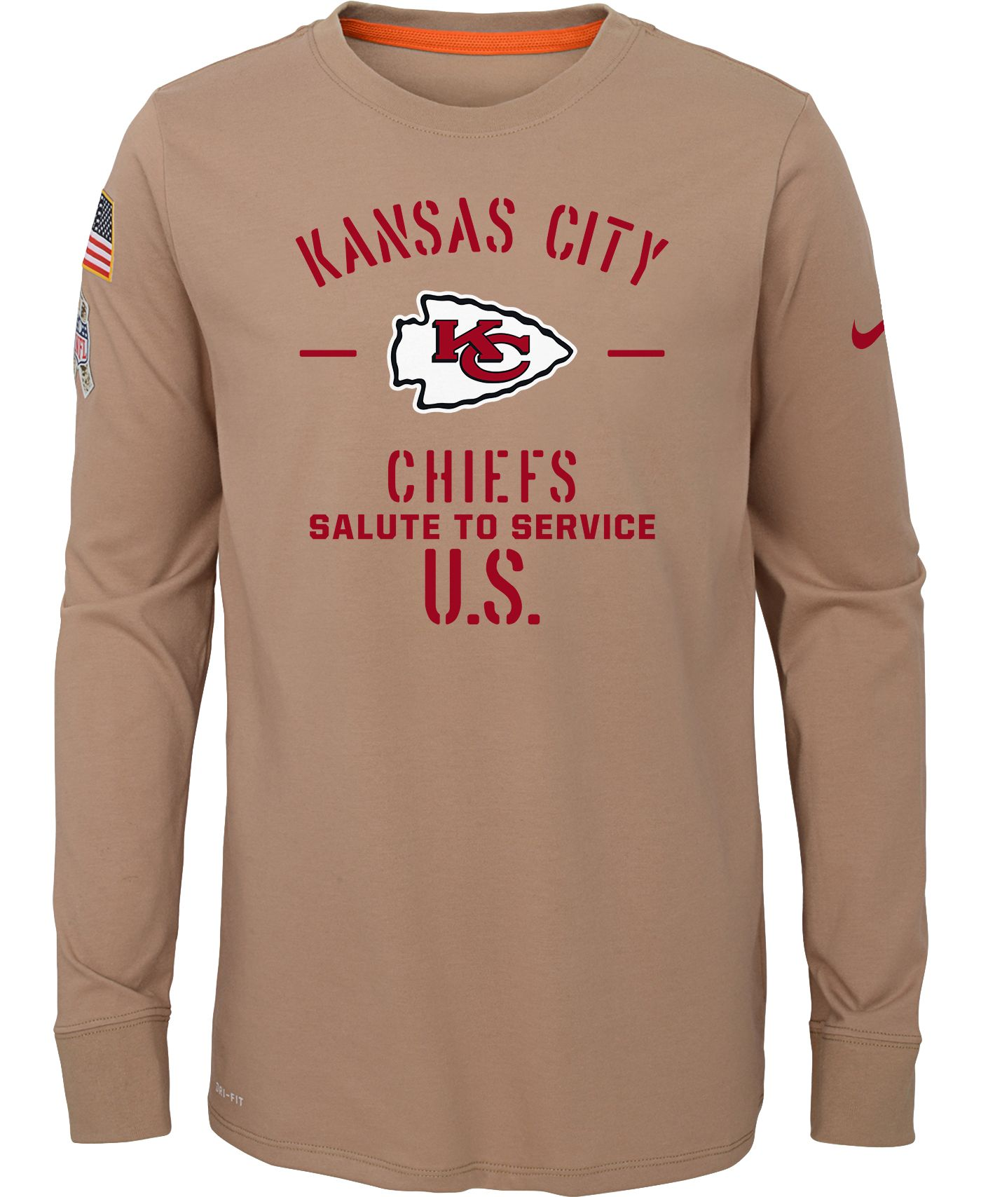 Nike Youth Salute to Service Kansas City Chiefs Dri-FIT Beige Long Sleeve Shirt