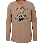 Nike Youth Salute to Service Los Angeles Chargers Dri-FIT Beige Long Sleeve Shirt