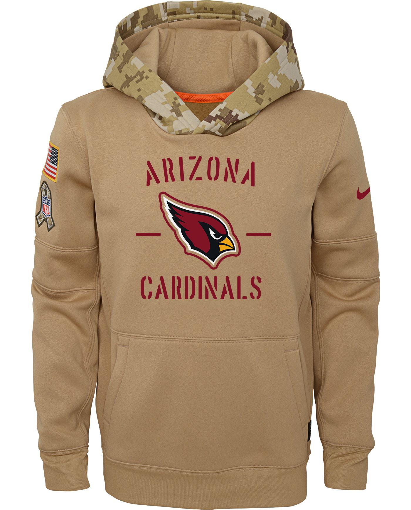Nike Youth Salute to Service Arizona Cardinals Therma-FIT Beige Camo Hoodie