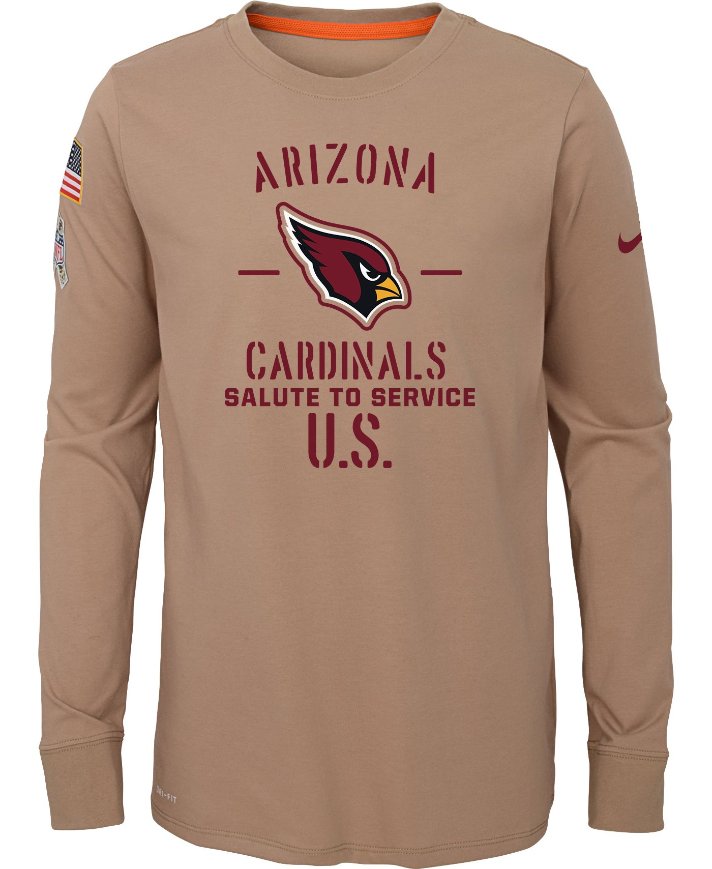 Nike Youth Salute to Service Arizona Cardinals Dri-FIT Beige Long Sleeve Shirt