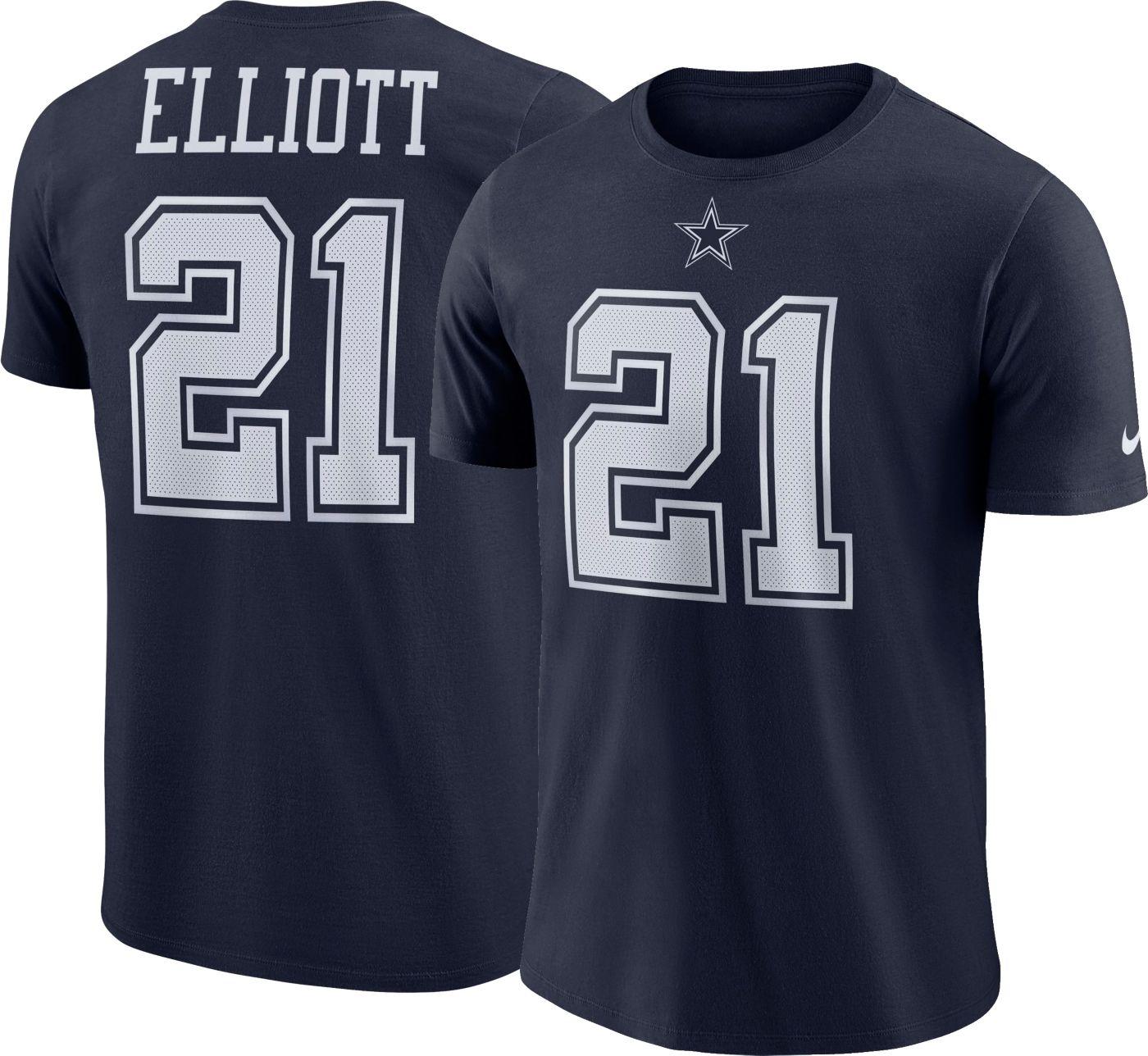 Nike Youth Dallas Cowboys Ezekiel Elliott #21 Logo Navy T-Shirt