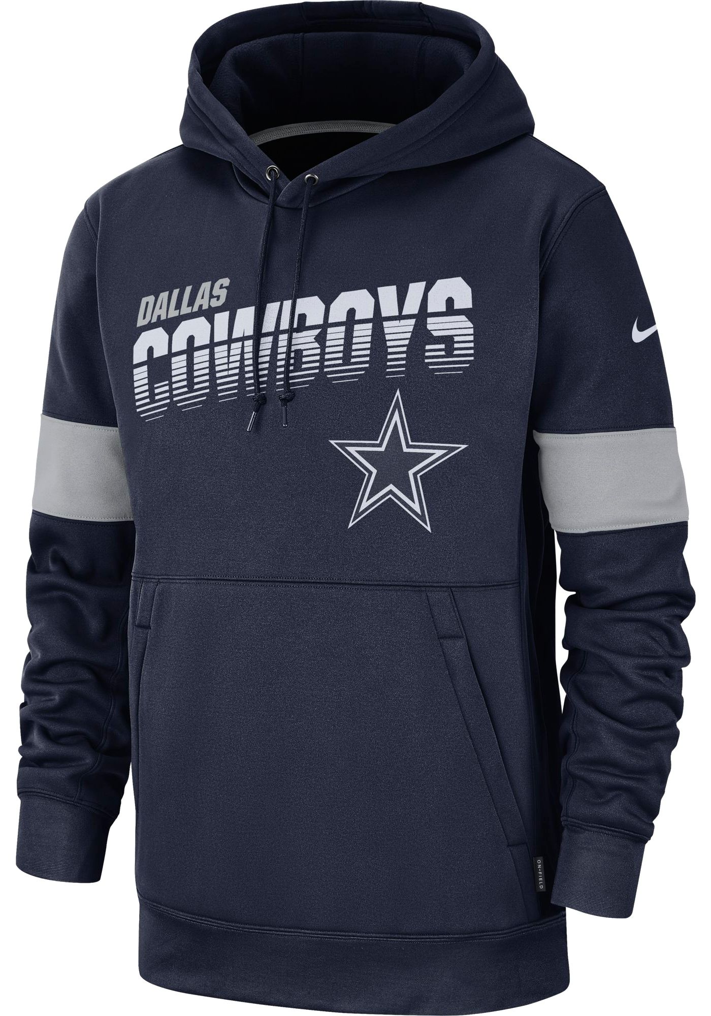 Nike Youth Dallas Cowboys 100th Sideline Therma-FIT Navy Pullover Hoodie