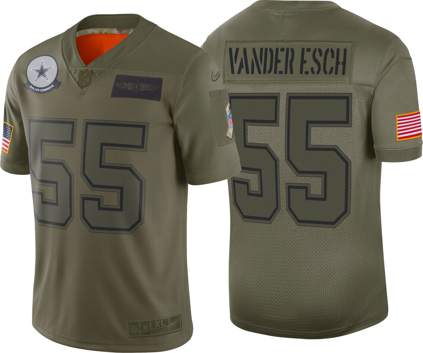 Nike Youth Salute to Service Dallas Cowboys Leighton Vander Esch #55 Olive Game Jersey