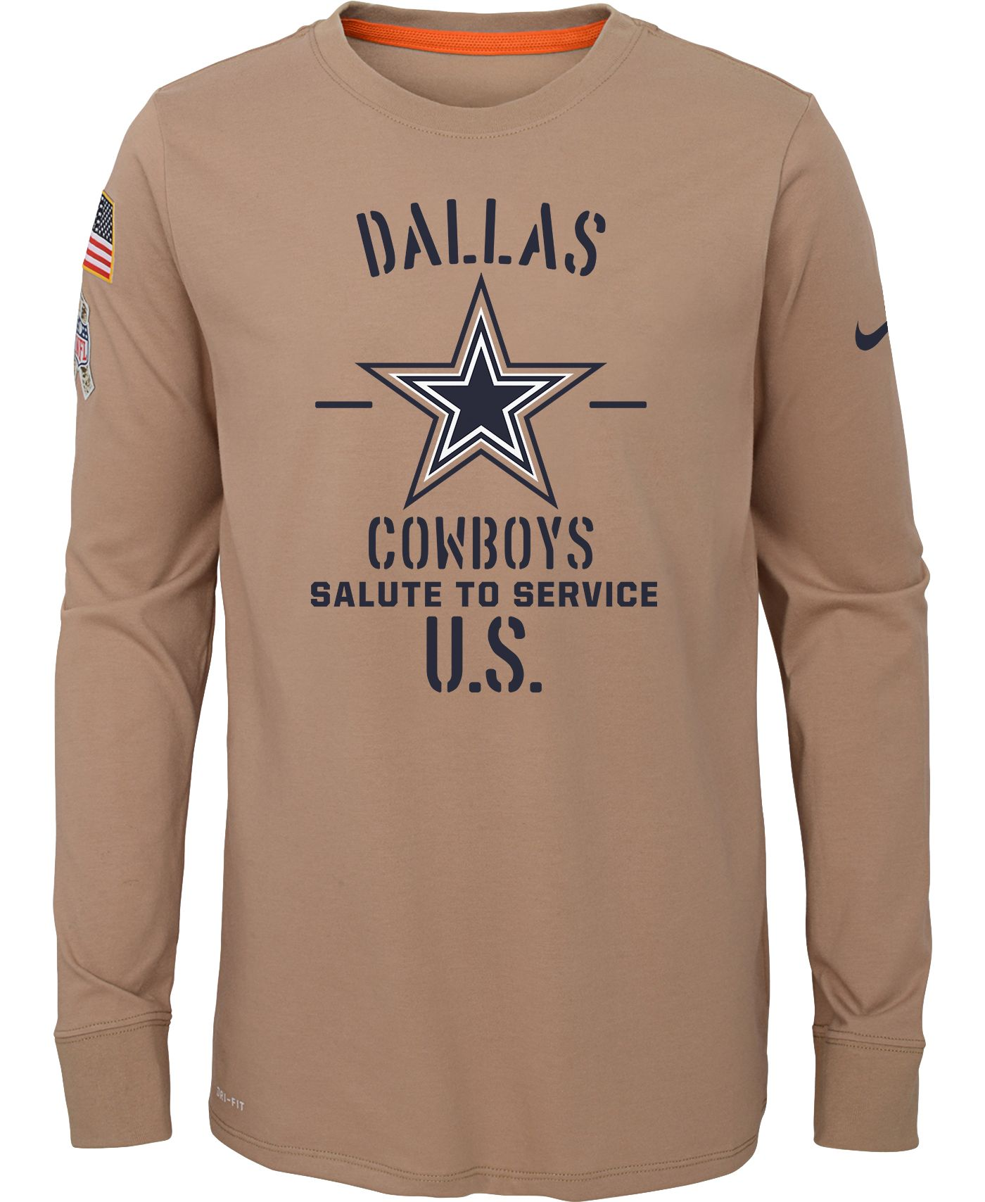 Nike Youth Salute to Service Dallas Cowboys Dri-FIT Beige Long Sleeve Shirt