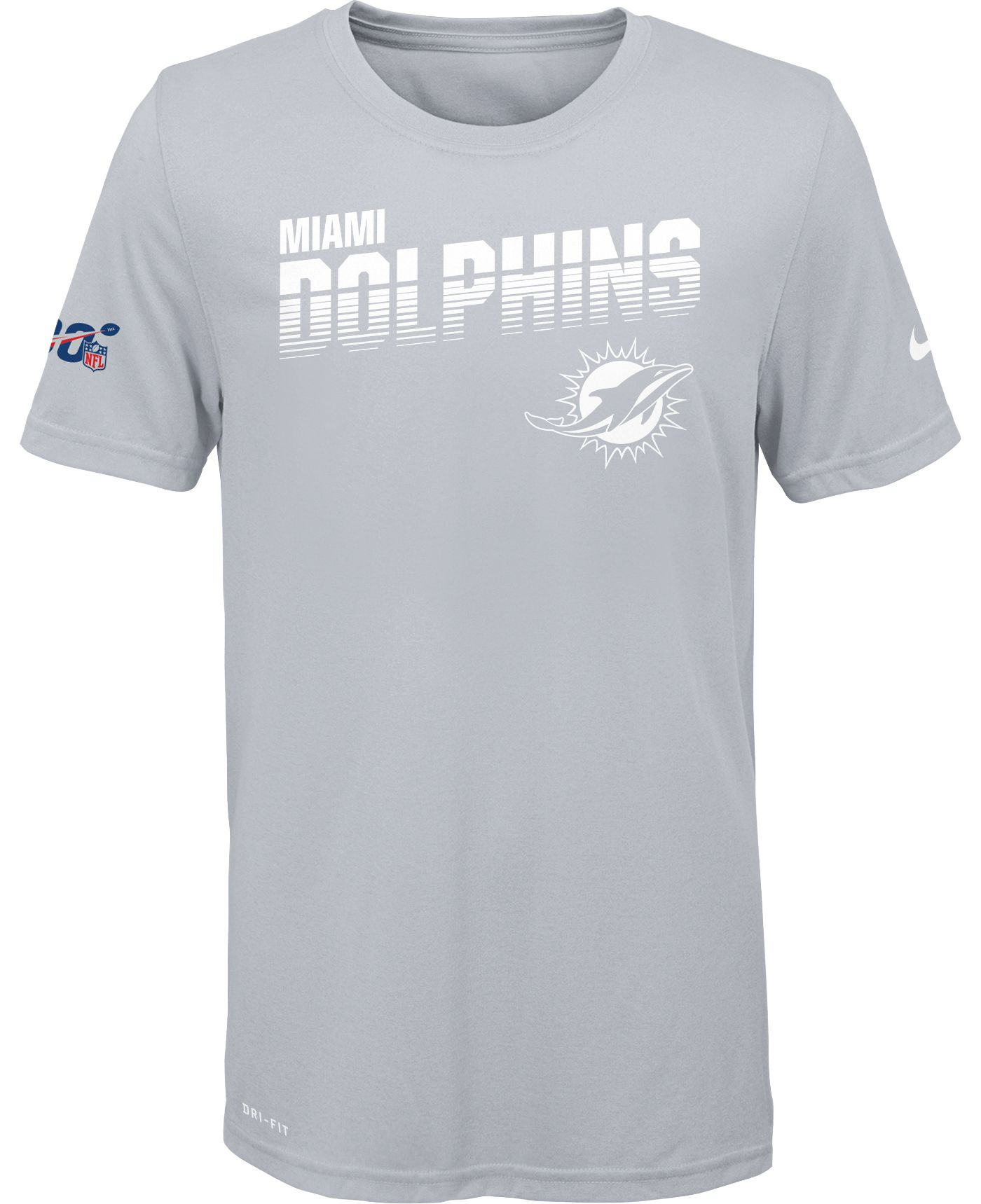 Nike Youth Miami Dolphins 100th Sideline Legend Performance White T-Shirt
