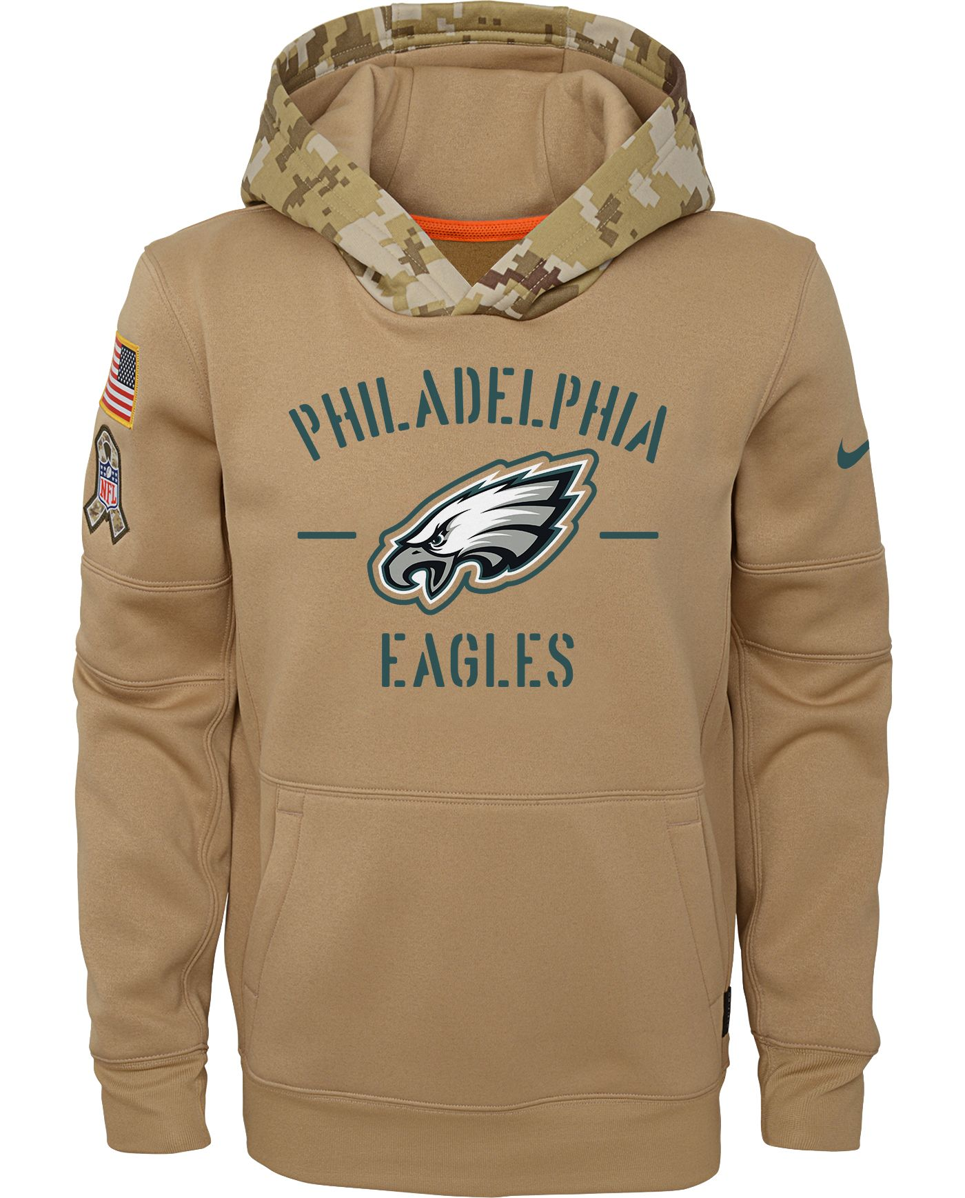 Nike Youth Salute to Service Philadelphia Eagles Therma-FIT Beige Camo Hoodie