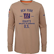 Nike Youth Salute to Service New York Giants Dri-FIT Beige Long Sleeve Shirt