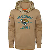 Nike Youth Salute to Service Jacksonville Jaguars Therma-FIT Beige Hoodie