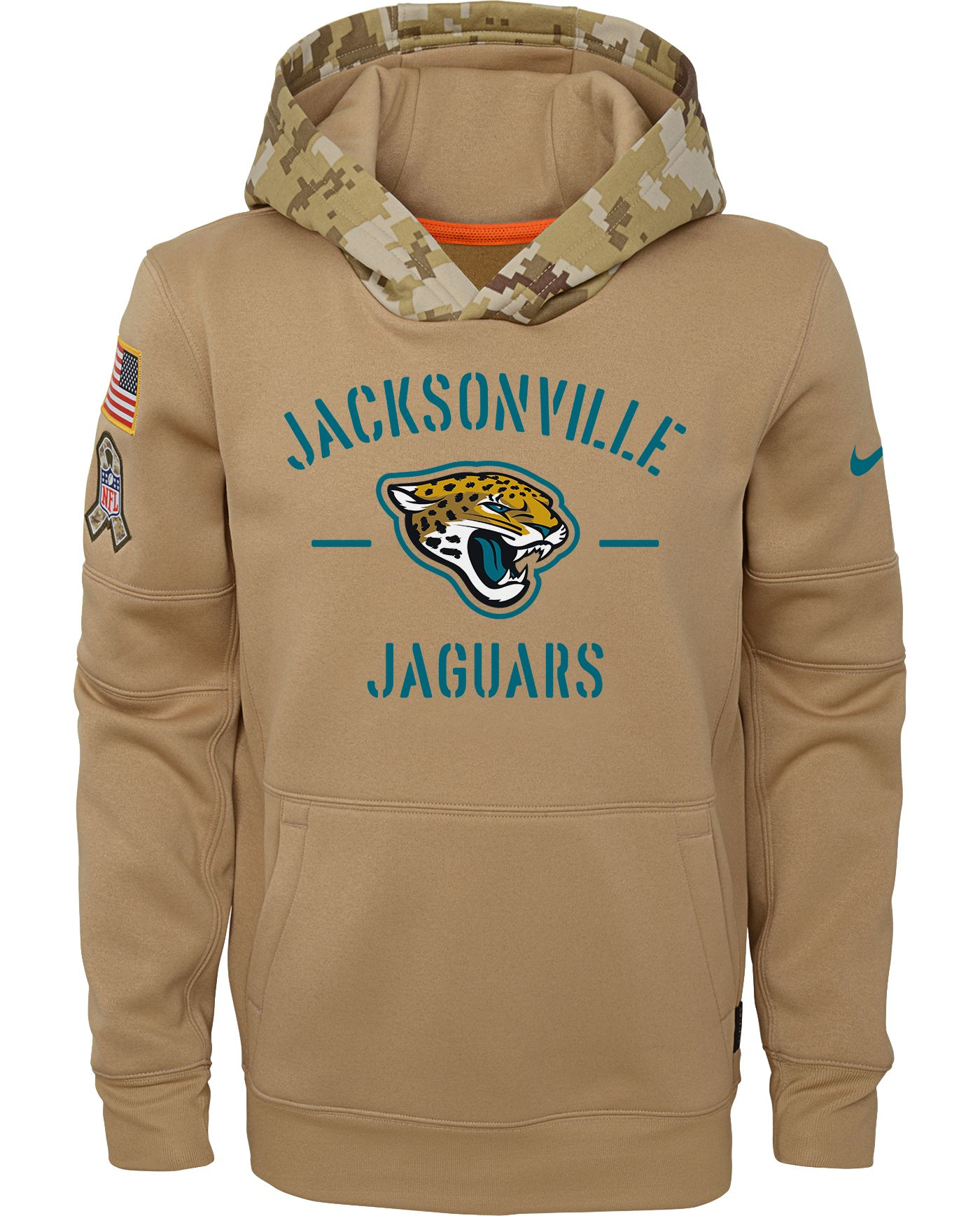 Nike Youth Salute to Service Jacksonville Jaguars Therma-FIT Beige Camo Hoodie