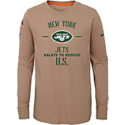 Nike Youth Salute to Service New York Jets Dri-FIT Beige Long Sleeve Shirt