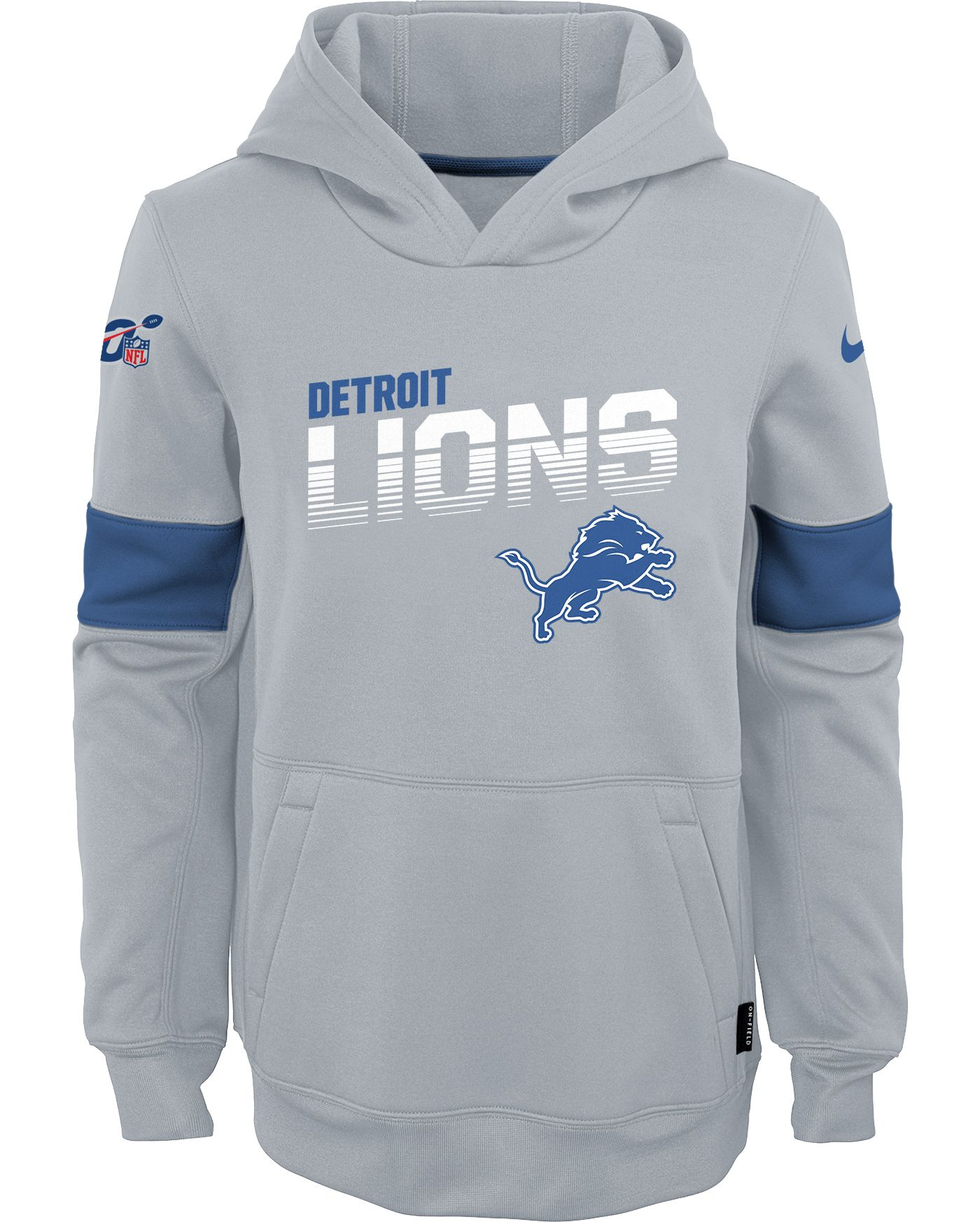 Nike Youth Detroit Lions 100th Sideline Therma-FIT Blue Pullover Hoodie