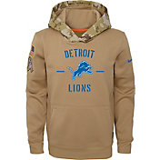 Nike Youth Salute to Service Detroit Lions Therma-FIT Beige Hoodie