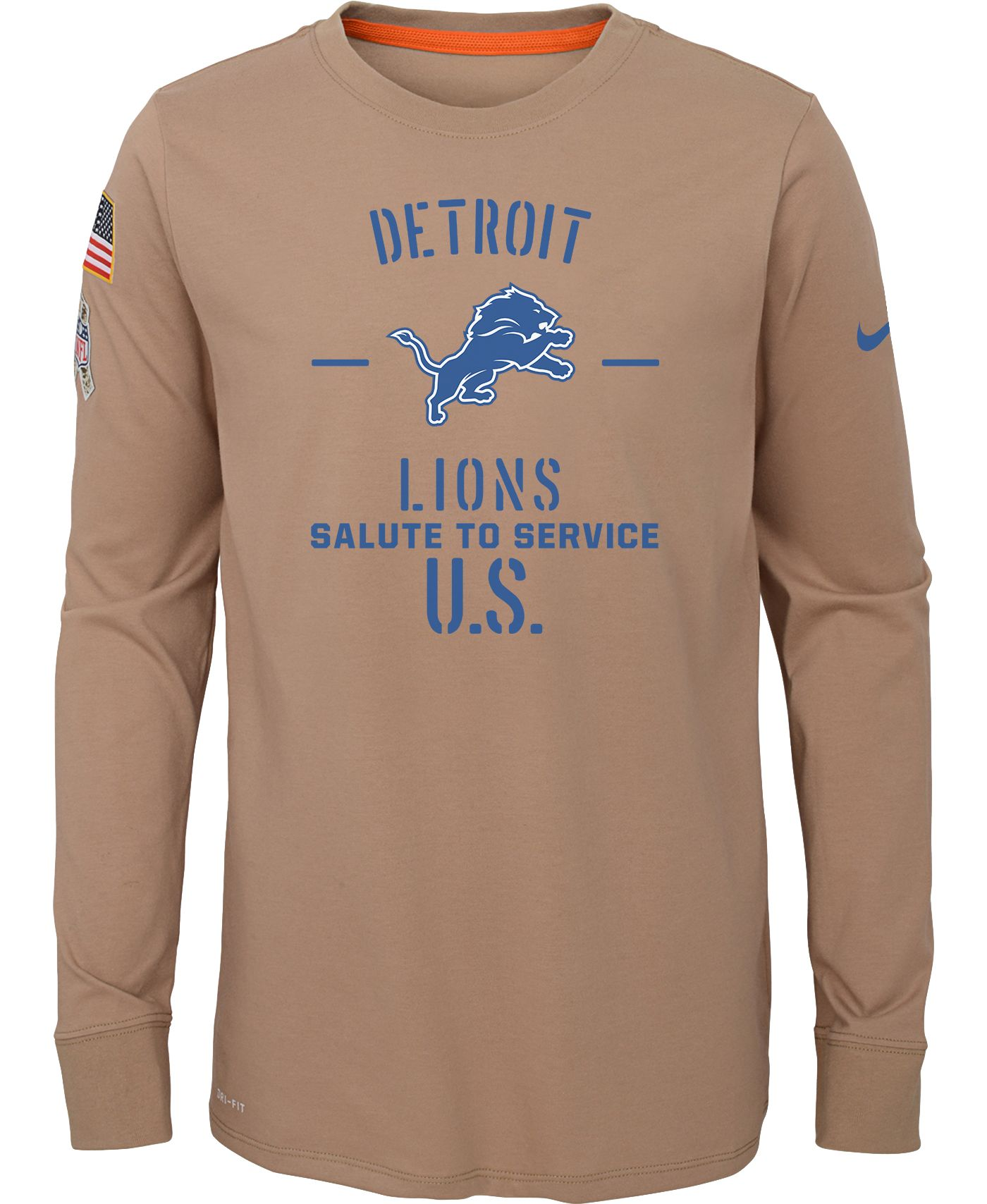 Nike Youth Salute to Service Detroit Lions Dri-FIT Beige Long Sleeve Shirt